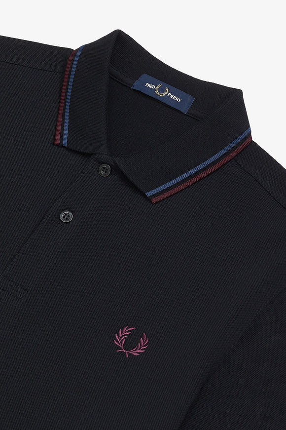 Fred Perry Polo Black / Midnight Blue / Mahogany (Only Small or XL left!)