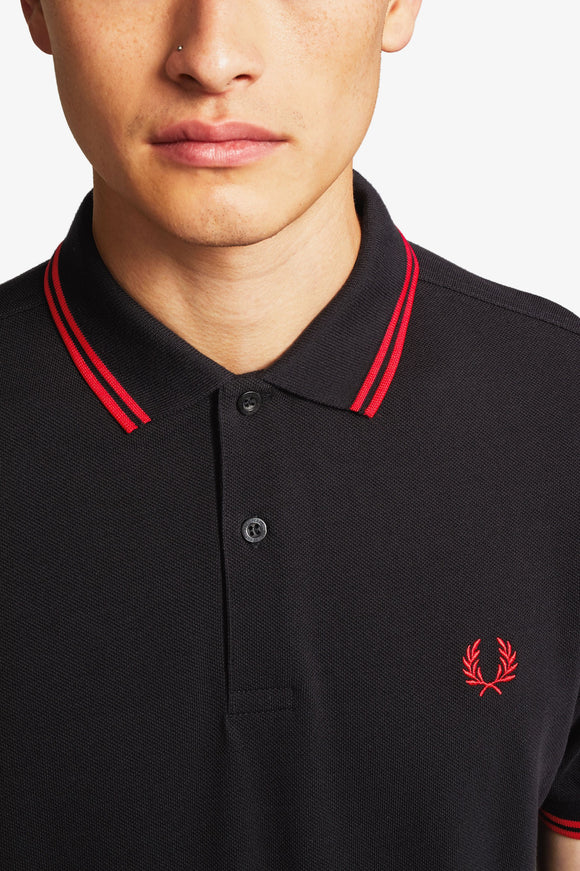 Fred Perry Polo Black / Red / Red
