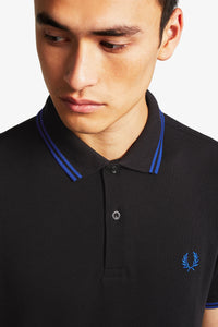Fred Perry Polo Black / Cobalt (Only Small or Medium left!)