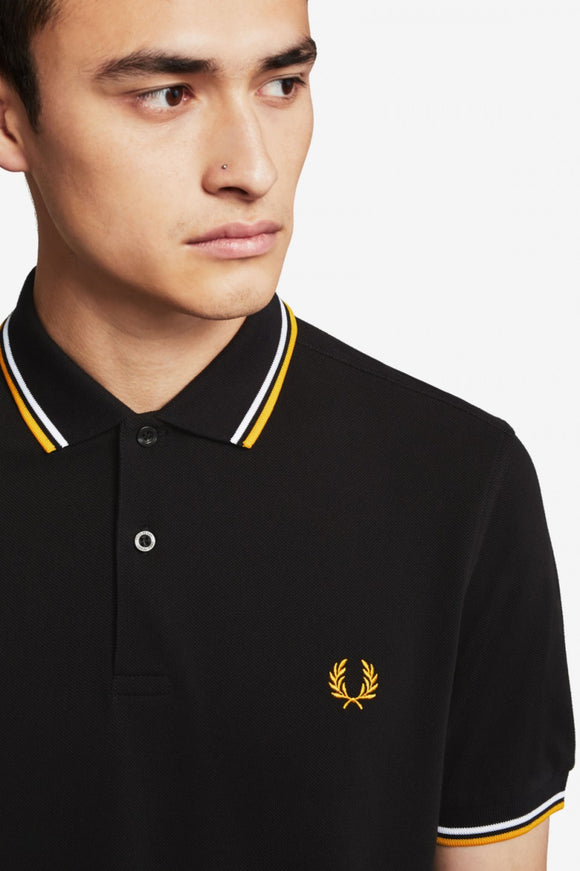 Fred Perry Polo Black / White / Gold (Only Small left!)