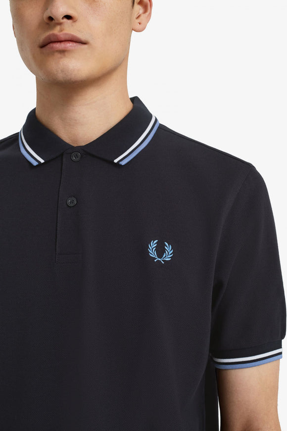Fred Perry Polo Navy / Snow White / Riviera