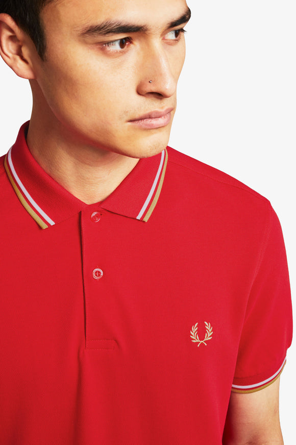 Fred Perry Polo Jester Red / White / Champagne