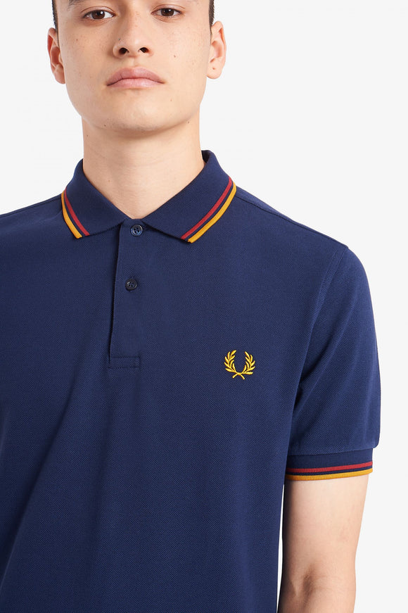 Fred Perry Twin Tipped Polo Deep Carbon / Red / Amber