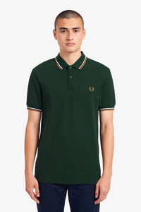 Fred Perry Twin Tipped Polo Evergreen / Snow / Dark Caramel