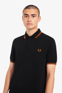 Fred Perry Twin Tipped Polo Black / Rust Orange