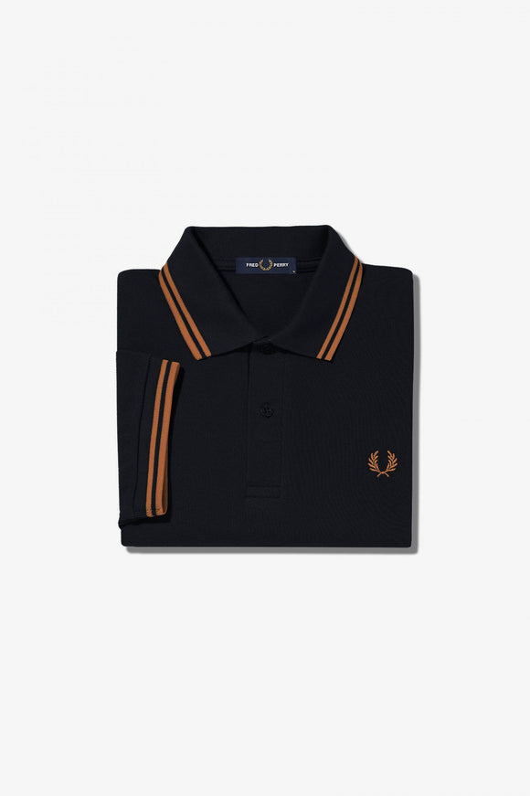 Fred Perry Twin Tipped Polo Navy / Dark Caramel