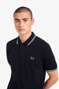 Fred Perry Twin Tipped Polo Navy / Snow / Smoke Blue