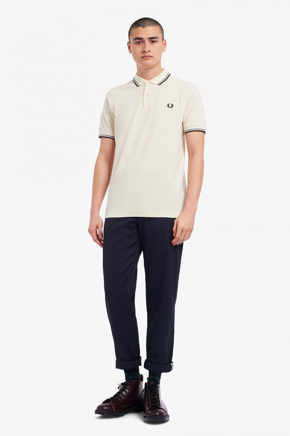 Fred Perry Polo Ecru / 50's Silver / Hunting Green