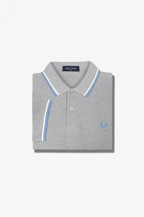 Fred Perry Polo Steel Marl / Snow White / Riviera