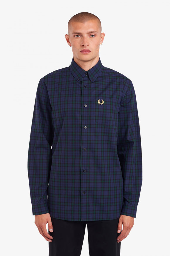Fred Perry Winter Tartan Long Sleeve Carbon Blue