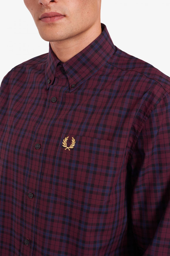 Fred Perry Winter Tartan Long Sleeve Mahogany (Last One, Size Small!)