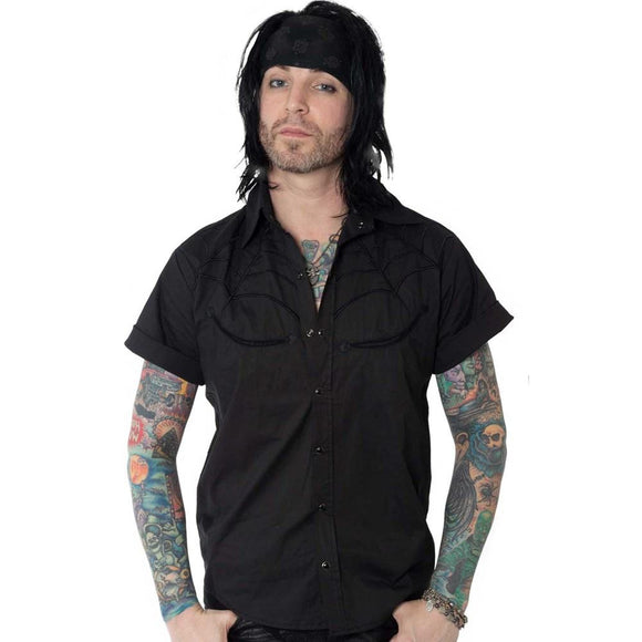 Black Spider Western Button Up Shirt