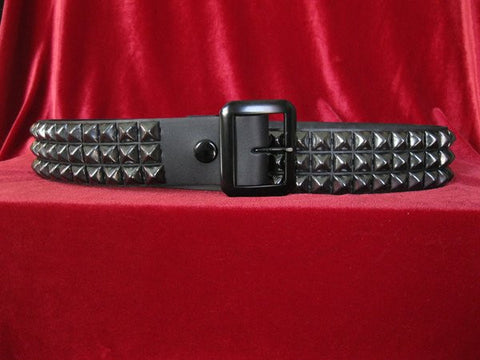 Black on Black Pyramid Stud 3 Row Belt