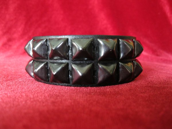 2 Row Black Pyramid Stud Wristband