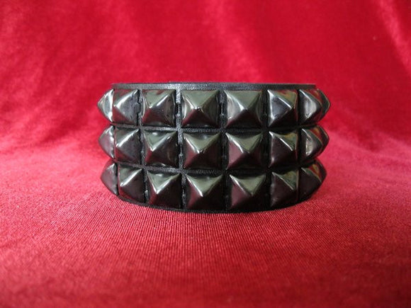 3 Row Black Pyramid Stud Wristband - DeadRockers