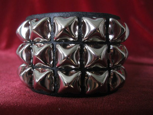 3 Row Pyramid Stud Wristband - DeadRockers