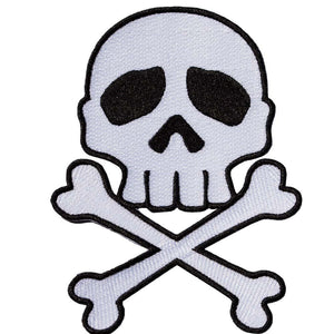 Skull Cross Bones White Patch - DeadRockers