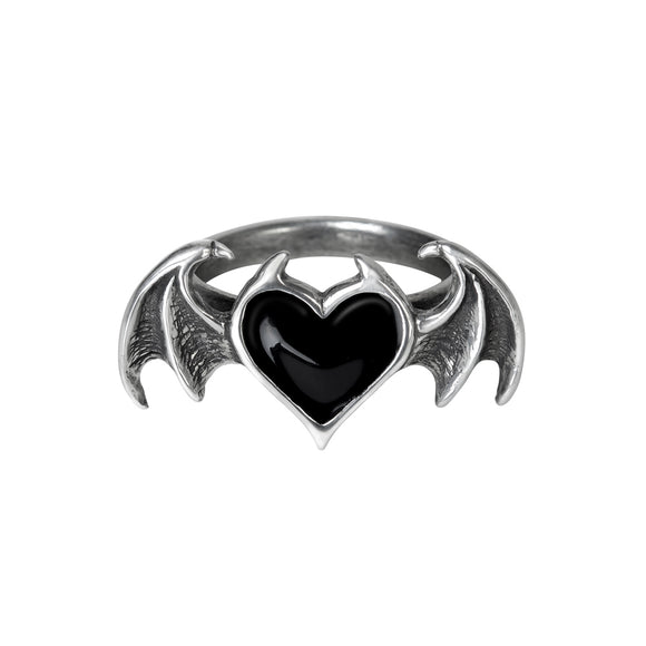 Black Soul Winged Heart Ring