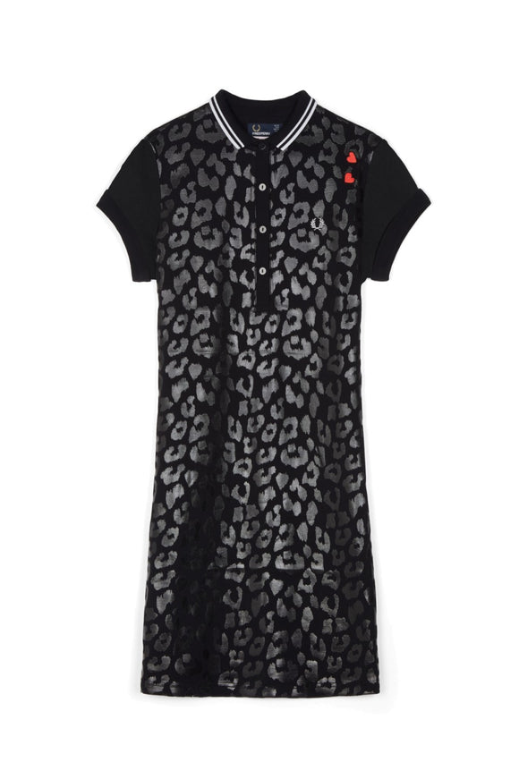 Fred Perry Amy Winehouse Polo Dress Black Leopard - Limited Edition