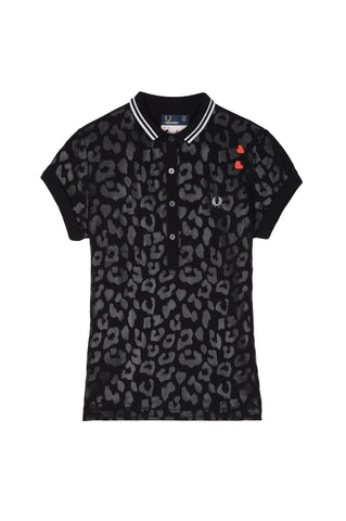 Fred Perry Amy Winehouse Polo Black Leopard Print - Limited Edition