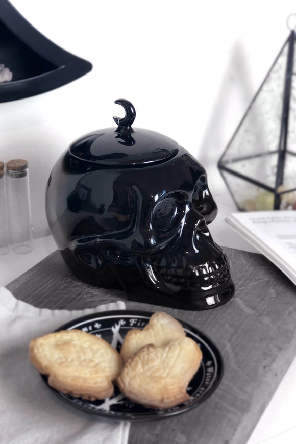 Ceramic Black Skull Cookie Jar