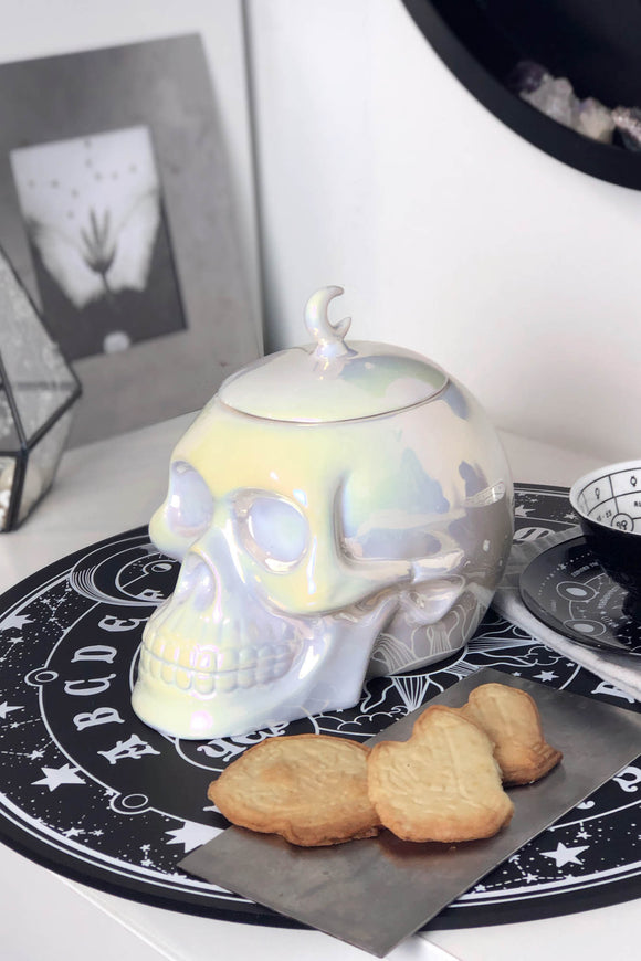 Ceramic Aura Skull Cookie Jar