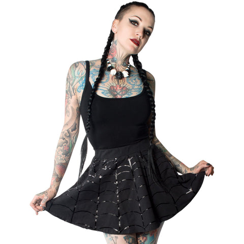Black on Black Web Skater Skirt