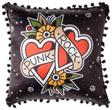 Punk Rock Hearts Pillow