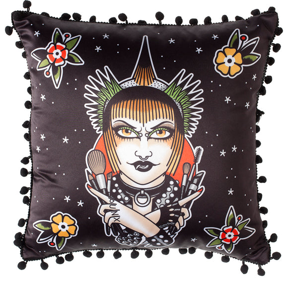 War Paint Punk Rock Girl Pillow
