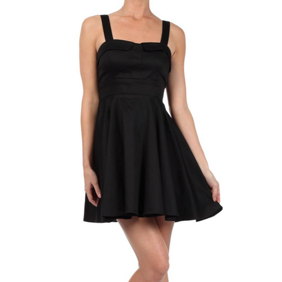Black Retro Fold Over Dress