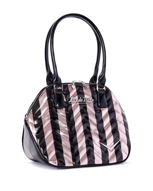 Chevron Queen Rose Gold Metallic Striped Bag