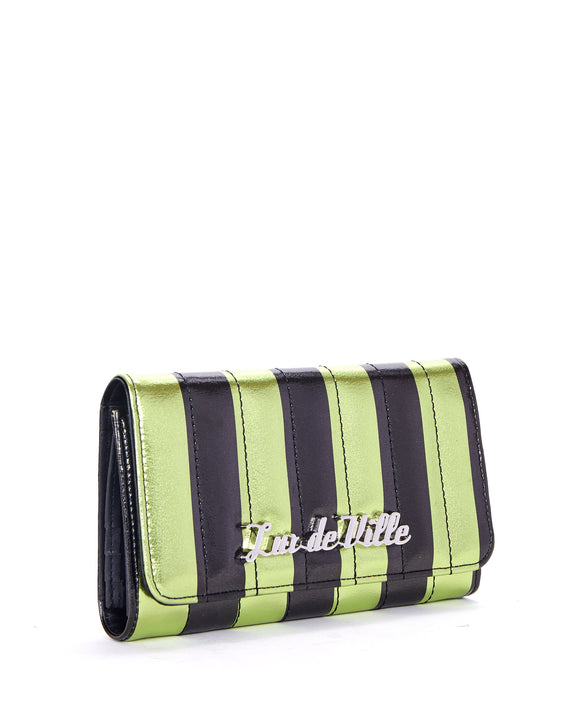 Green & Black Metallic Striped Bad Reputation Wallet