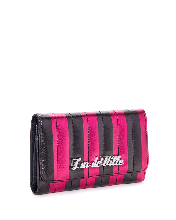 Hot Pink & Black Metallic Striped Bad Reputation Wallet