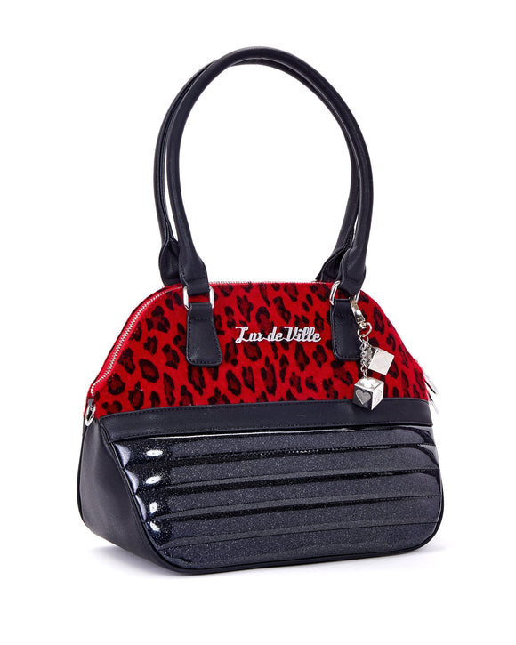 Dame Tote Red Leopard & Black Sparkle