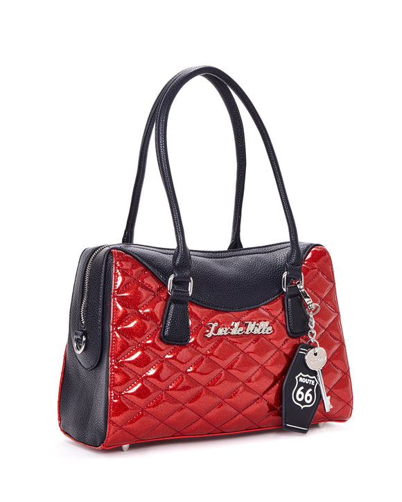 Route 66 Black Matte & Red Sparkle Tote