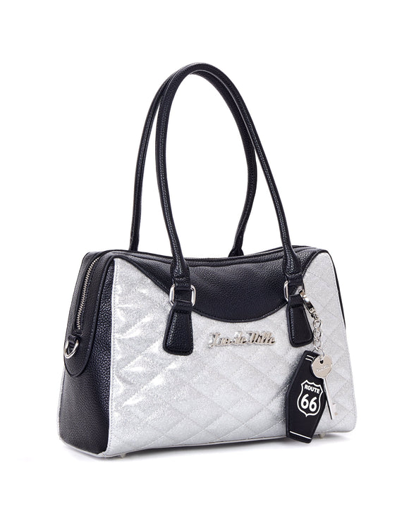 Route 66 Black & Silver Sparkle Tote