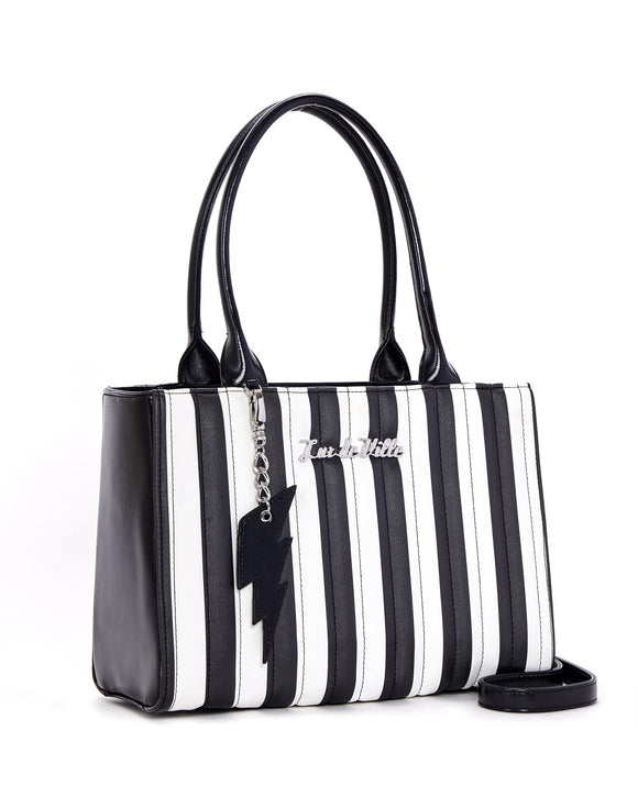 Black & White Striped Bad Reputation Tote