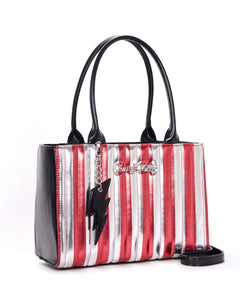 Silver & Red Metallic Striped Bad Reputation Tote