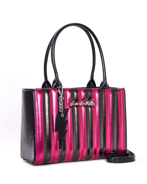 Hot Pink & Black Metallic Striped Bad Reputation Tote