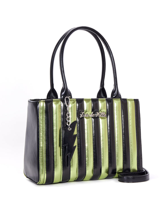 Green & Black Metallic Striped Bad Reputation Tote