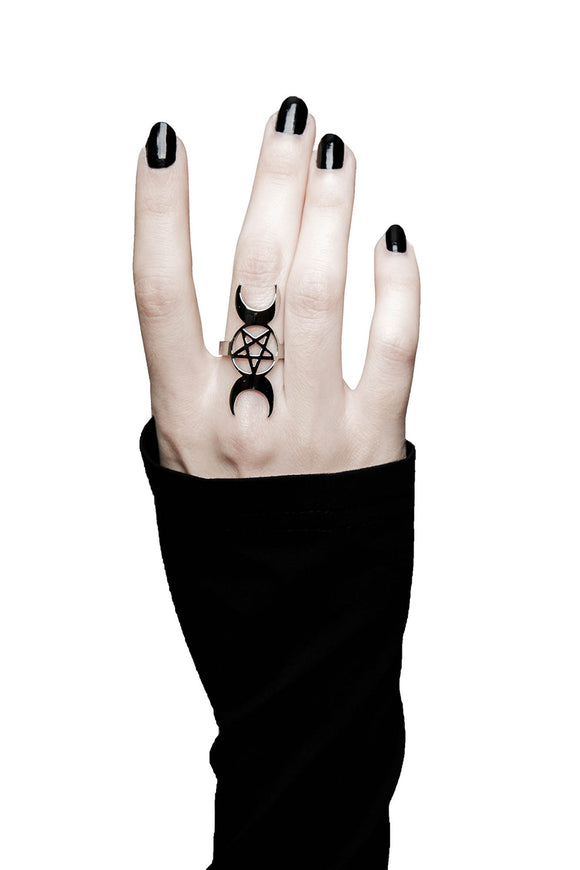 Triple Moon Trinity Ring