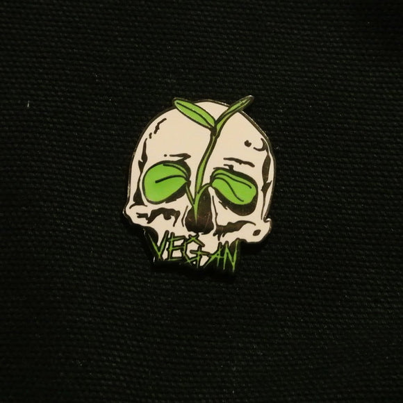 Vegan Skull Pin