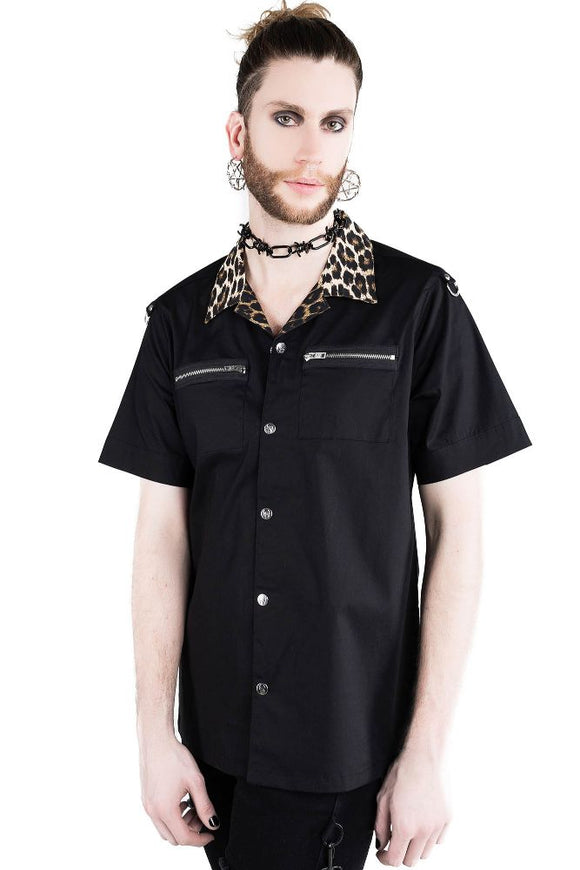 Wild Side Leopard Button Up Work Shirt