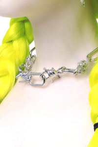 Barbed Wire Silver Chain Choker