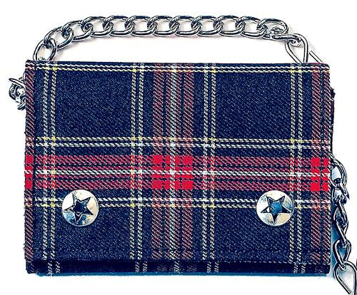 Navy Blue Plaid Chain Wallet