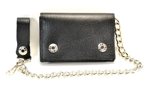 Black Leather Chain Wallet