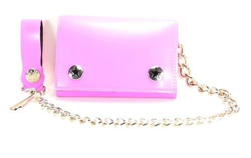 Pink Leather Chain Wallet