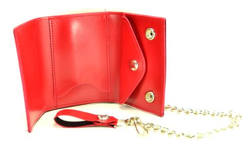 Red Leather Chain Wallet