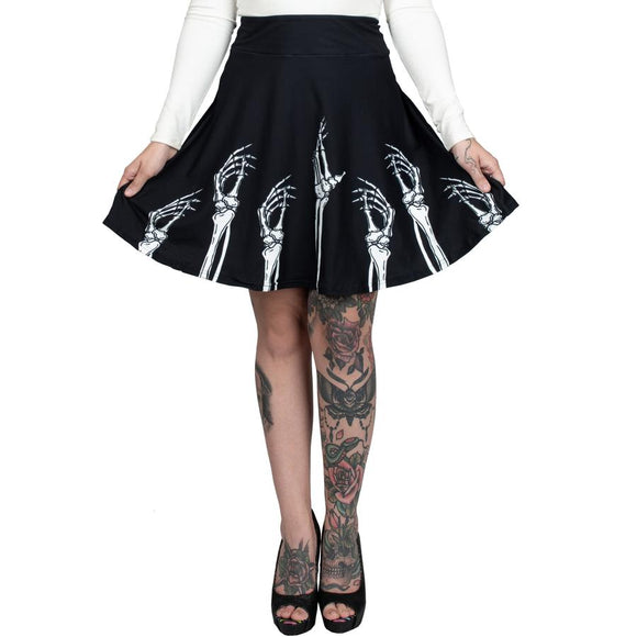 Skeleton Hands Skater Skirt
