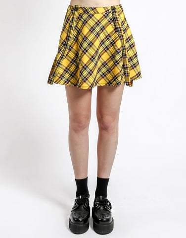 Yellow Plaid Suspender Skirt